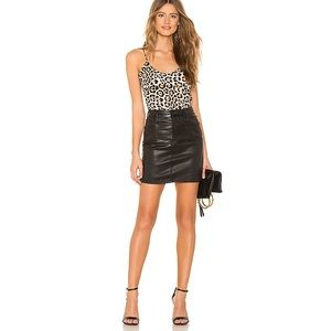 NWT Agolde Lydia Coated Denim Skirt Black 30